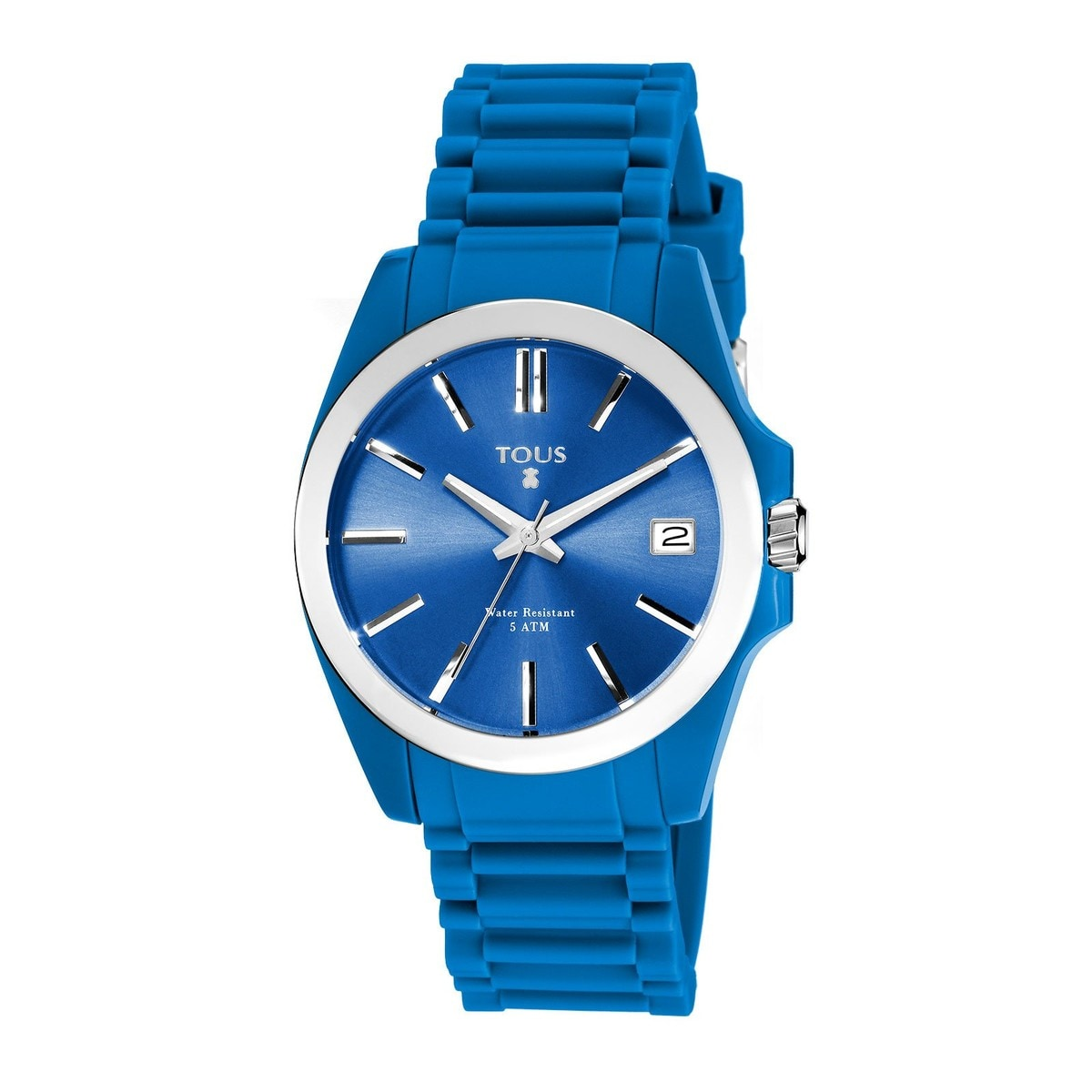Steel Drive Fun Watch with blue Silicone strap