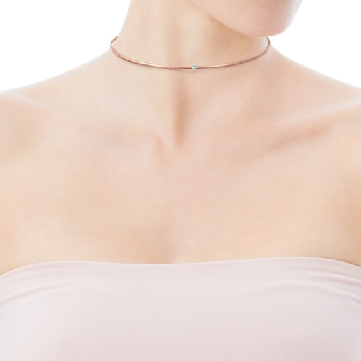 Light Choker in Rose Gold with Diamonds