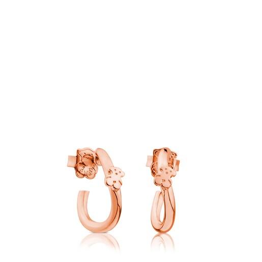 Σκουλαρίκια Ondas από ροζ ασήμι vermeil