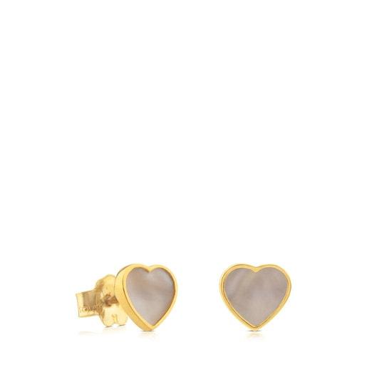 Brincos XXS coração em Ouro e Nácar