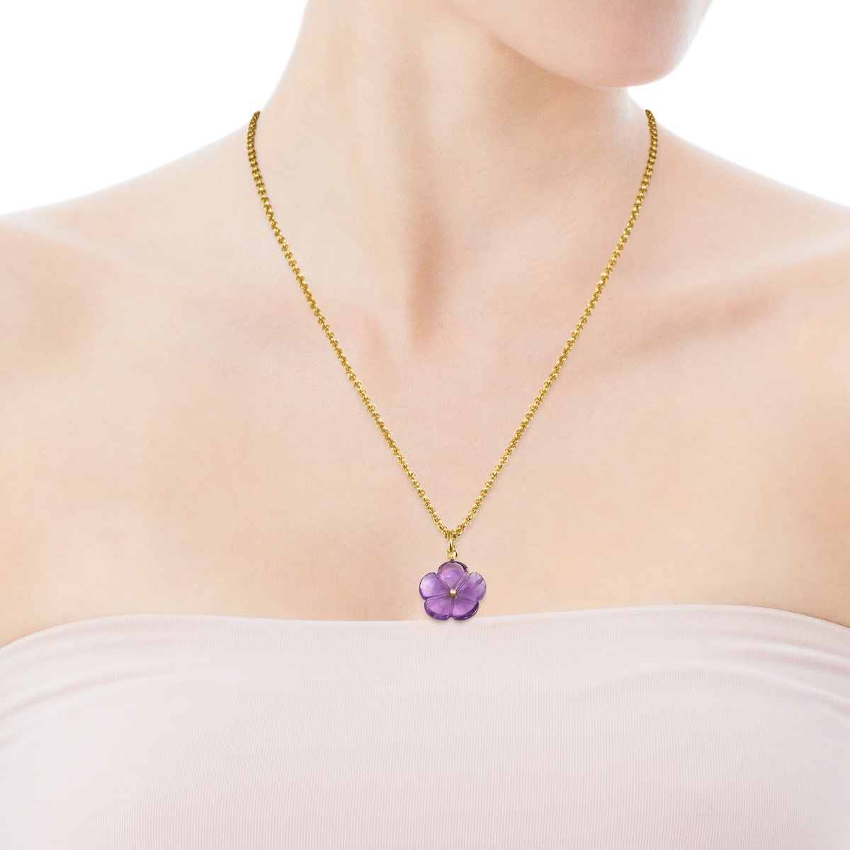 Vita Pendant in Gold with Amethyst and Diamond