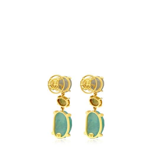 Pendientes ATELIER Precious Gemstones de oro con zafiros y esmeraldas
