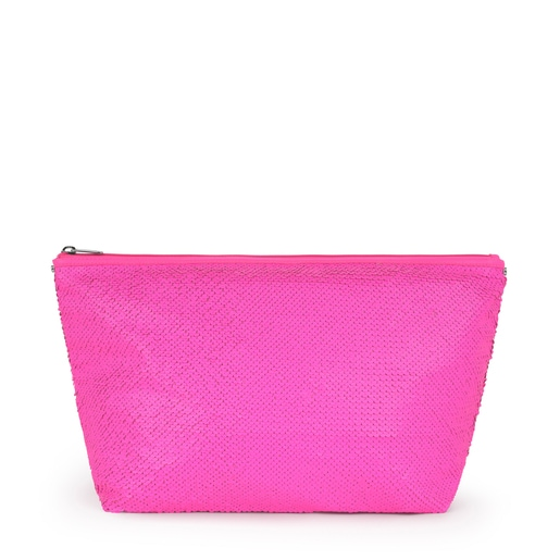 Medium Neon Pink Kaos Shock Sequins Handbag