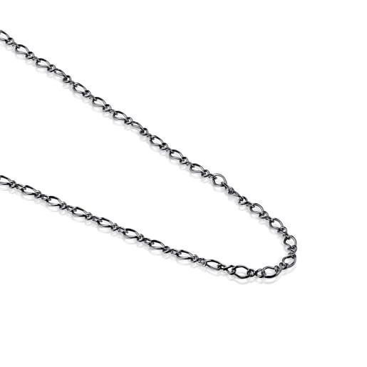 Μεσαίου μήκους Αλυσίδα TOUS Chain με κρίκους χαλινού από Ασήμι Dark Silver