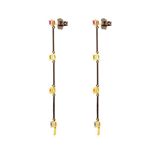 Titanium and Gold Mix Titanio Earrings with Gemstones