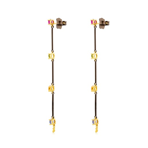 Titanium and Gold Mix Titanio Earrings with Gemstones