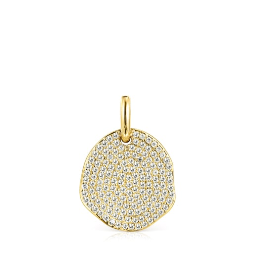 Large Gold Nenufar Pendant with Diamonds