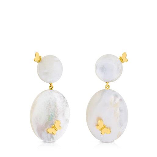Ohrringe Bera mit Schmetterling aus Gold und Perlmutt