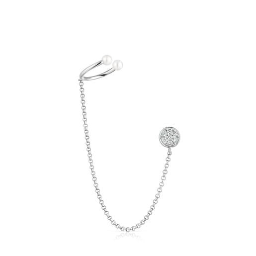 Arete Alecia de Oro blanco con Diamantes y Perla
