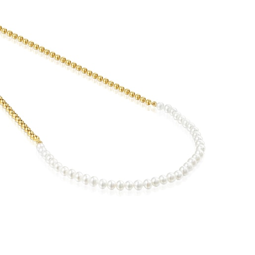 Silver Vermeil Gloss Choker with Pearls