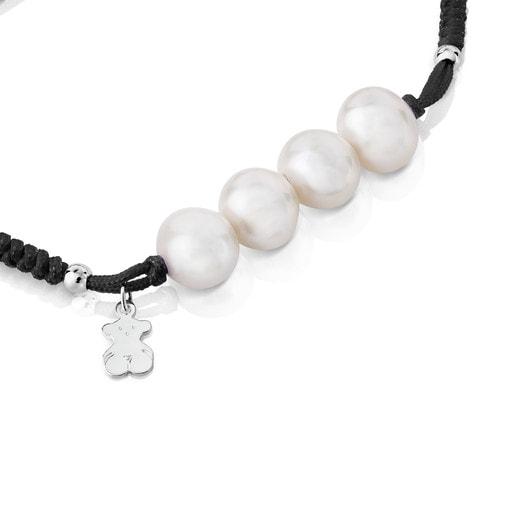 Silver TOUS Pearls Bracelet with Bear motif
