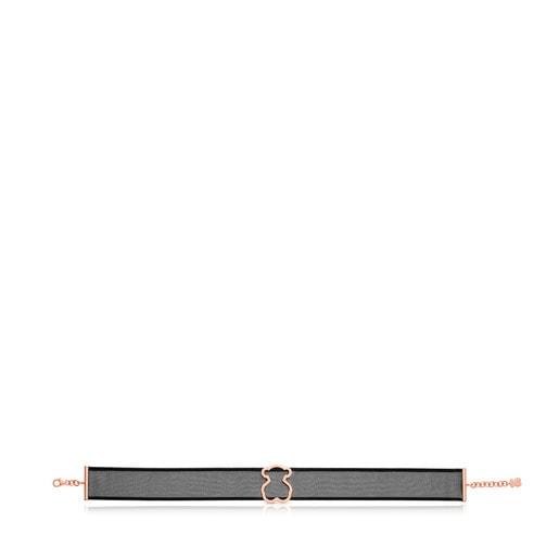 Collar Icon Mesh de Acero y Plata Vermeil rosa