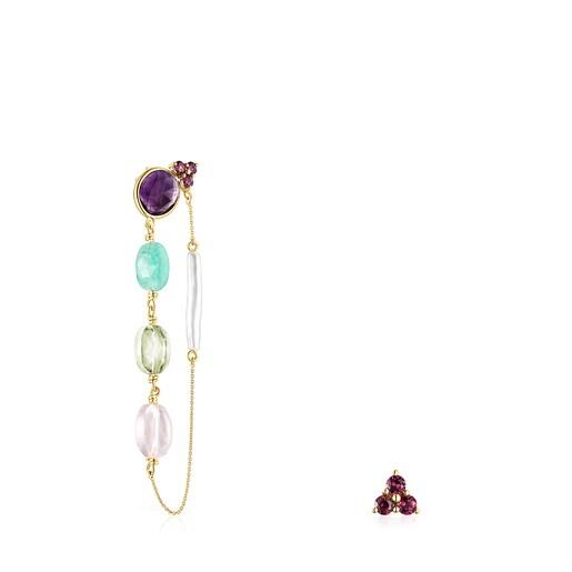 Aretes Luz corto/largo de oro con gemas y perla