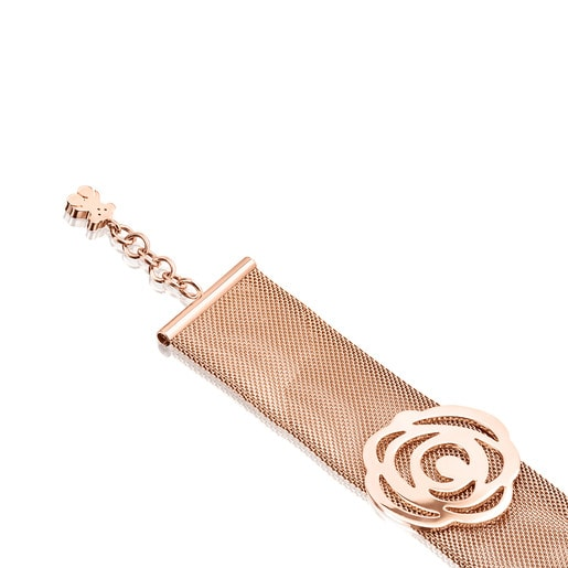Bracelet Rosa de Abril en Acier et Or Vermeil rose