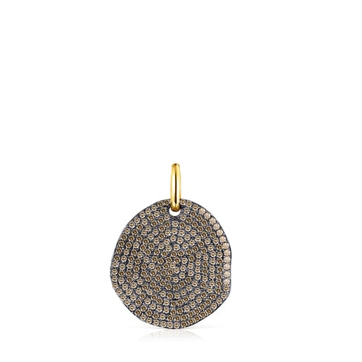 Large Silver Vermeil Nenufar Pendant with Diamonds
