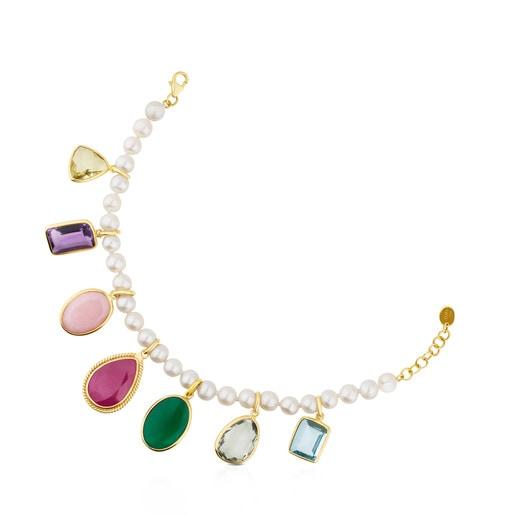 Pulsera Gem Power de Perlas y Oro con Gemas