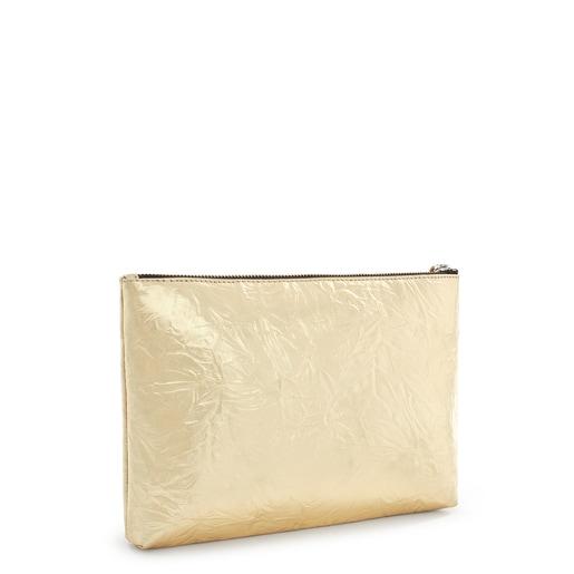 Metallic Gold-Colored Vinyl Dorp Clutch-Wallet