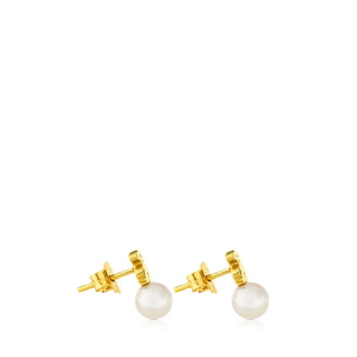 Gold Puppies Earrings with Pearls and Bear motif