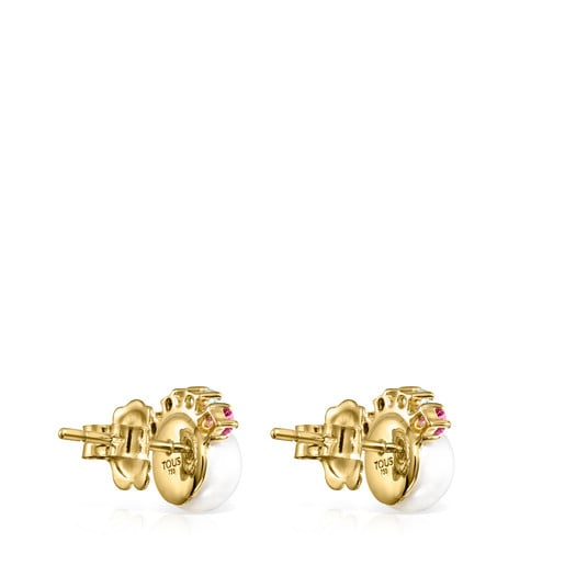 Σκουλαρίκια Real Sisy από Χρυσό με μικρό Μαργαριτάρι και Πολύτιμους Λίθους