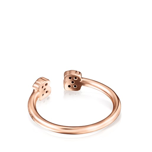 TOUS Motif open Ring in Rose Silver Vermeil with Spinels