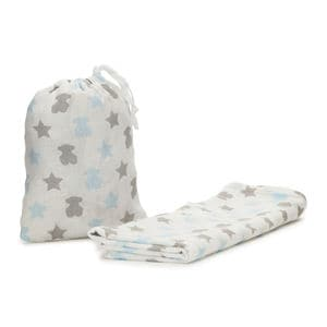 Muse muslin blanket with gauze cover in sky blue