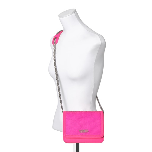 Fluorescent pink Ruby Crossbody bag with sequins