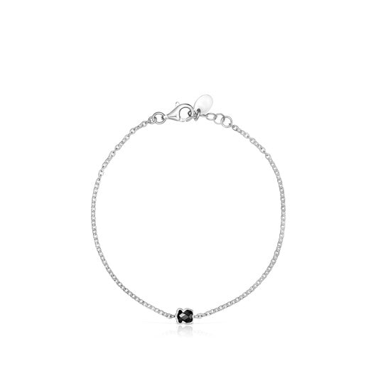 TOUS Mini Onix Bracelet in Silver with Onyx 0,4cm.