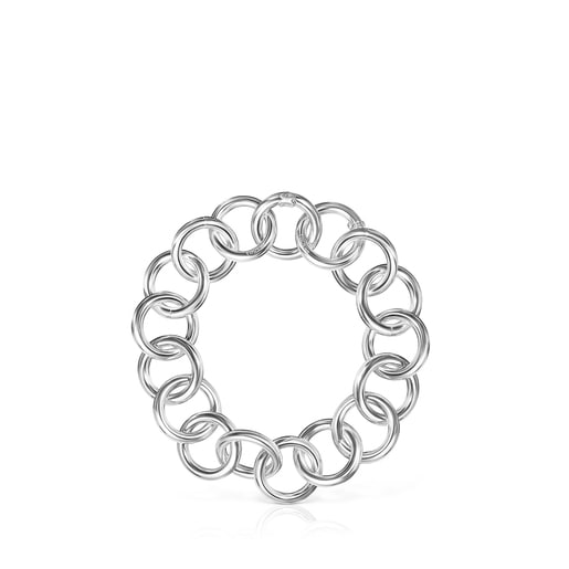 Silver Bracelet with Hold rings