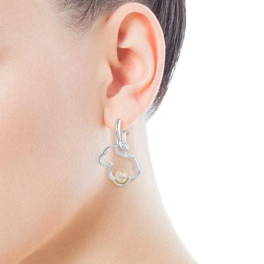 Silver TOUS Silueta Earrings with Pearl 1,6cm.