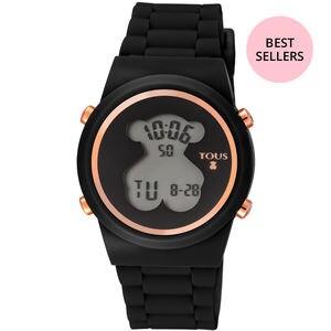 Rellotge digital D-Bear d'acer IP rosat amb corretja de silicona negra