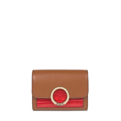 Small brown and pink Audree Wallet