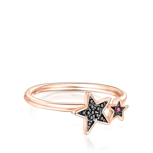 Rose Silver Vermeil Teddy Bear Stars Ring with Spinel and Ruby