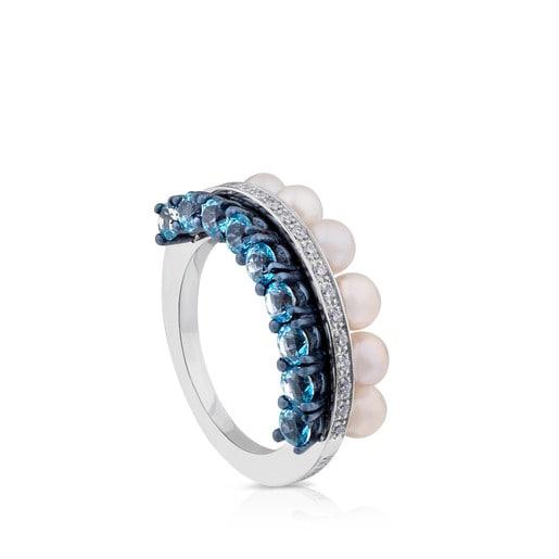 Δαχτυλίδι Layers από Τιτάνιο και Πλατίνα με Τοπάζι και Μαργαριτάρι