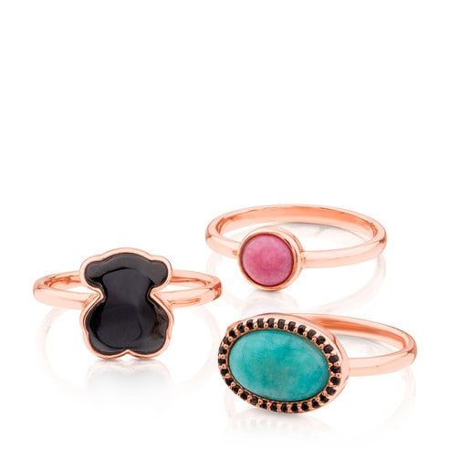 Pack of Rose Vermeil Silver Motif Rings with Gemstones