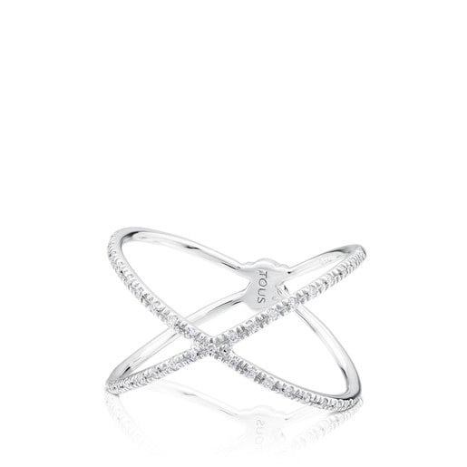 White Gold TOUS Diamond crossed Ring with Diamond 0.09ct