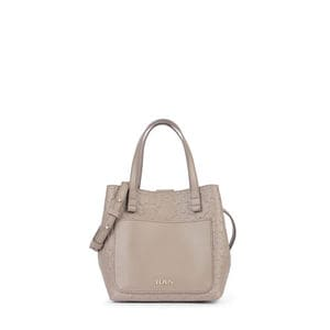 Small taupe colored Leather Mossaic Tote bag