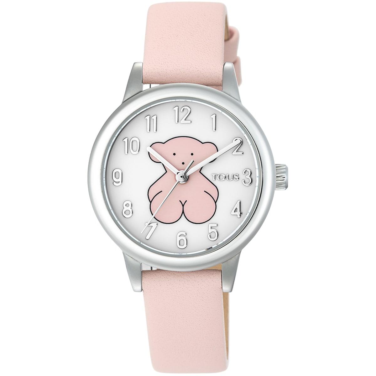 RellotgeNewMuffind'acer amb corretja de pell rosa