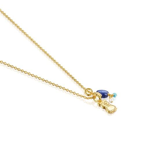 Halskette TOUS Good Vibes Eule aus Vermeil-Silber mit Edelsteinen