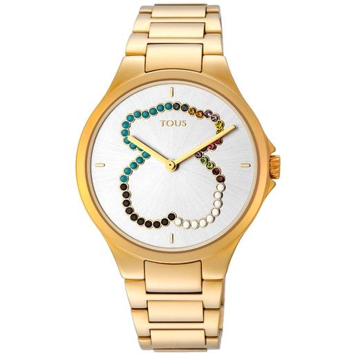 Ρολόι-αρκουδάκι Motion Straight από επιχρυσωμένο Ατσάλι με κρύσταλλα