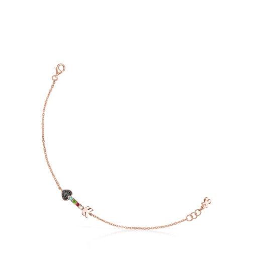 Pulsera San Valentín flecha de Plata Vermeil rosa y Gemas