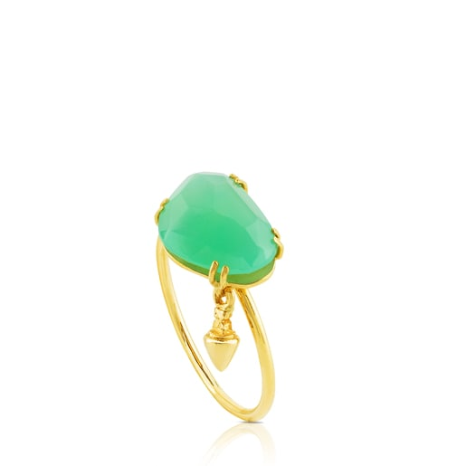 Gold Beethoven Ring with Chrysoprase