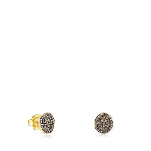 Small Silver Vermeil Nenufar Earrings with Diamonds