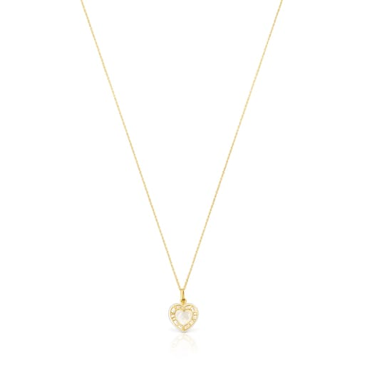 Gold San Valentín heart Necklace with Mother-of-pearl