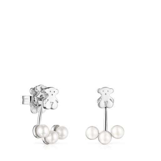 Short Nocturne Silver Earrings with Pearls