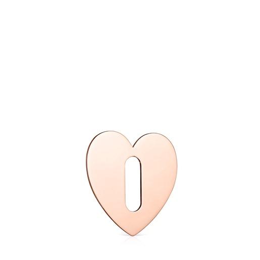 Colgante pequeño Hold Metal corazón de Plata Vermeil rosa
