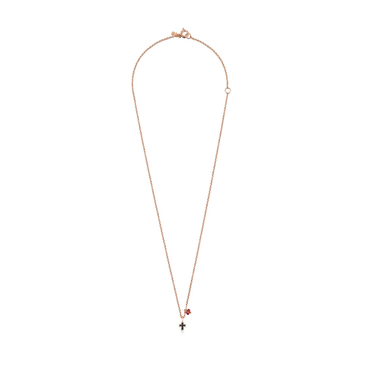 Rose Gold Vermeil Motif cross Necklace with Spinels and Ruby