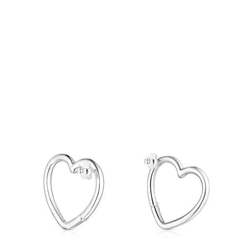 Large Silver Hold heart Earrings