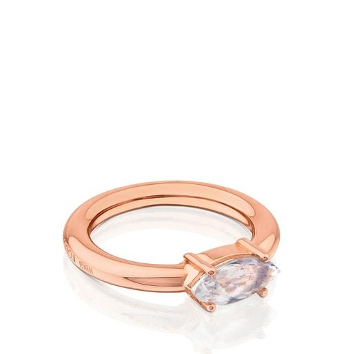 Anillo de plata vermeil rosa con topacio Eklat