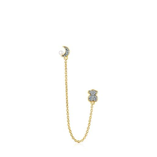1/2 Pendiente Nocturne doble de Plata Vermeil, Diamantes y Perla