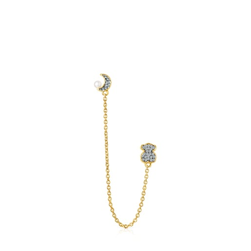 Nocturne double 1/2 Earring in Gold Vermeil with Diamonds and Pearl